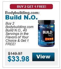 Buy 2 Bodybuilding.com Build N.O., 40 Servings in the flavors of your choice & get 1 FREE!
