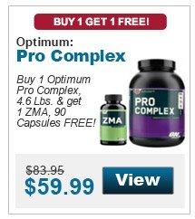 Buy 1 Optimum Pro Complex, 4.6 Lbs. & get 1 ZMA, 90 Capsules FREE!