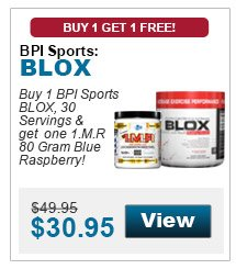 Buy 1 BPI Sports BLOX, 30 Servings & get one 1MR 80 Gram Blue Raspberry!