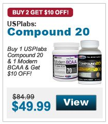 Get $10 OFF when you buy 1 USPlabs Modern BCAA & 1 Compound 20!