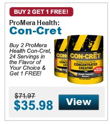 Buy 2 ProMera Health Con-Cret, 24 Servings in the Flavor of Your Choice & Get 1 FREE!