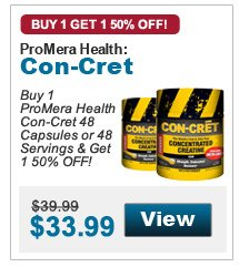 Buy 1 ProMera Health Con-Cret 48 Capsules or 48 Servings in the flavor of your choice & get 1 50% OFF!