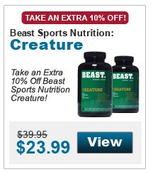 Take an extra 10% Off Beast Sports Nutrition Creature!
