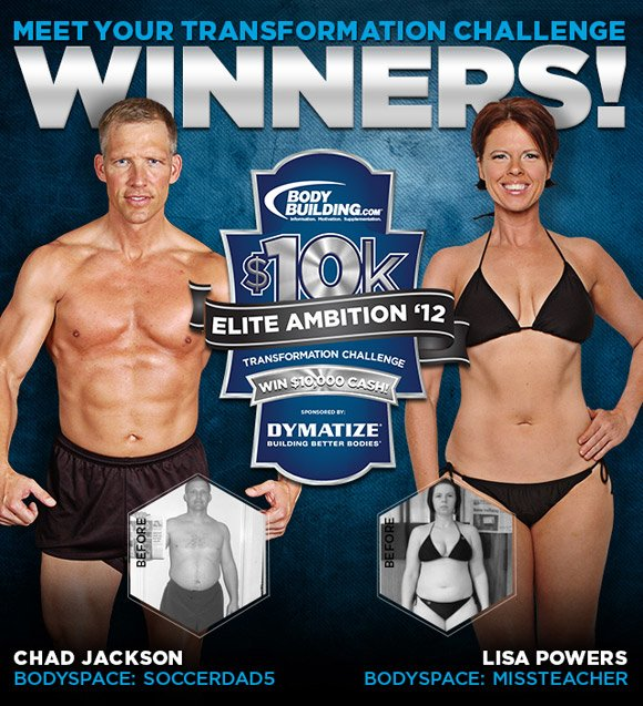 April 2012 Dymatize Elite Ambition Transformation Challenge Winners Chad Jackson & Lisa Powers!
