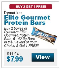 Buy 2 boxes of Dymatize Elite Gourmet Protein Bars, 6 - 42.5g Bars in the flavors of your choice & get 1 FREE!