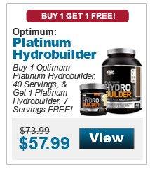 Buy 1 Optimum Platinum Hydrobuilder, 40 Servings, Chocolate Shake or Vanilla Bean & get 1 Platinum Hydrobuilder, 7 Servings, Vanilla Bean or Chocolate Shake, respectively, FREE!