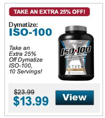 Take an Extra 25% Off Dymatize ISO-100, 10 Servings!