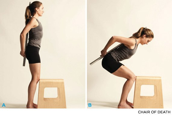 While Reading Anatomy For Runners I Got Out An Old Dowel And Started Squatting Doing The Chair Of Death In Living Room