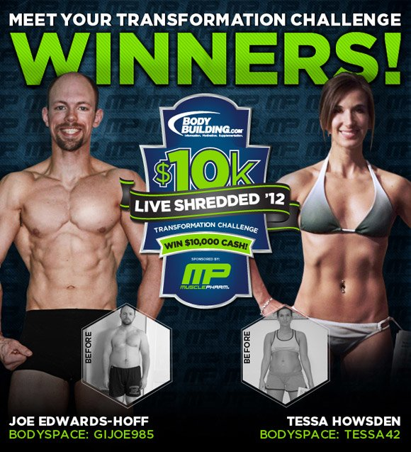 March 2012 MP $10k LIVE SHREDDED Transformation Challenge Winners Joe Edwards-Hoff & Tessa Howsden!