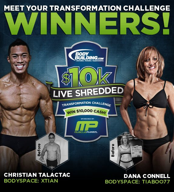 August 2011 MusclePharm Live Shredded Transformation Challenge Winners Christian Talactac & Dana Connell!
