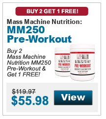 Buy 2 Mass Machine Nutrition MM250 Pre-Workout & get 1 FREE!