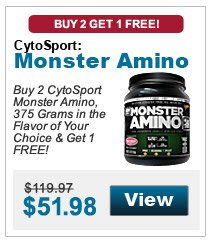 Buy 2 CytoSport Monster Amino, 375 Grams in the flavor of your choice & get 1 FREE!