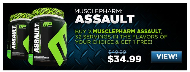 Buy 2 MusclePharm Assault, 32 Servings in the flavors of your choice & get 1 FREE!