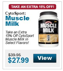 Take an extra 15% Off CytoSport Muscle Milk in select flavors!