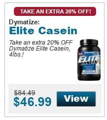 Take an extra 20% OFF Dymatize Elite Casein,  4lbs.!