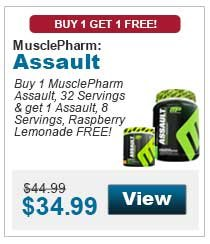 Buy 1 MusclePharm Assault, 32 Servings & get 1 Assault, 8 Servings, Raspberry Lemonade FREE!
