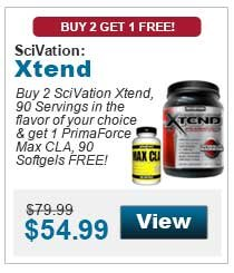 Buy 2 SciVation Xtend, 90 Servings in the flavor of your choice & get 1 PrimaForce Max CLA, 90 Softgels FREE!