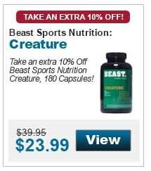 Take an extra 10% Off Beast Sports Nutrition Creature, 180 Capsules!