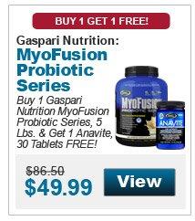 Buy 1 Gaspari Nutrition MyoFusion Probiotic Series, 5 Lbs. & get 1 Anavite, 30 Tablets FREE!