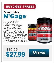 Buy 2 Axis Labs N'Gage in the flavor of your choice & get 1 Creatine Ethyl Ester, 120 Capsules FREE!