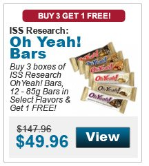Buy 3 boxes of ISS Research OhYeah! Bars, 12 - 85g Bars in select flavors & get 1 FREE!