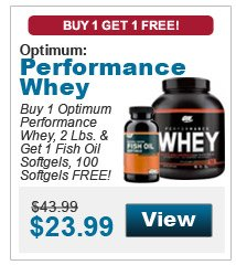 Buy 1 Optimum Performance Whey, 2 Lbs. & get 1 Fish Oil Softgels, 100 Softgels FREE!