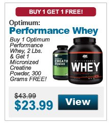 Buy 1 Optimum Performance Whey, 2 Lbs. & get 1 Micronized Creatine Powder, 300 Grams FREE!