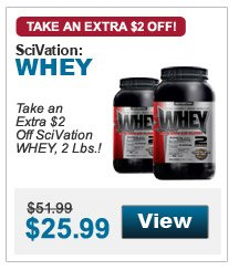 Take an extra $2 Off SciVation WHEY, 2 Lbs.!