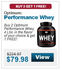 Buy 1 Optimum Performance Whey, 4 Lbs. & get 1 Tribulus 625 Caps, 100 capsules FREE!