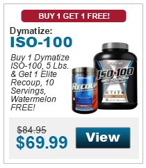 Buy 1 Dymatize ISO-100, 5 Lbs. & get 1 Elite Recoup, 10 Servings, Watermelon FREE!