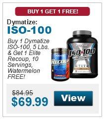 Buy 1 Dymatize ISO-100, 5 Lbs. & get 1 Elite Recoup, 10 Servings, Watermelon FREE!