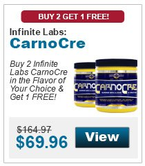 Buy 2 Infinite Labs CarnoCre in the flavor of your choice & get 1 in the flavor of your choice FREE!