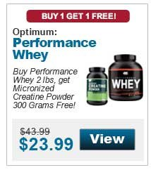 Buy Performance Whey 2 lbs, get Micronized Creatine Powder 300 Grams Free!
