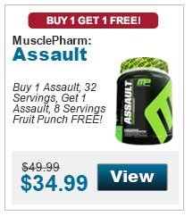 Buy 1 Assault, 32 Servings, Get 1 Assault, 8 Servings Fruit Punch FREE!