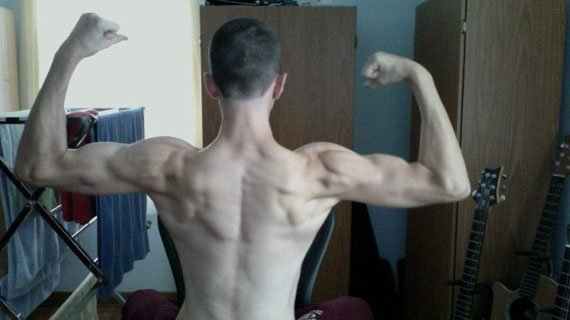I started a typical beginner's bodybuilding regimen, working each body part once a week with about 4 exercises