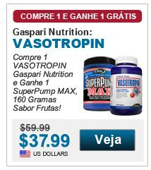 Compre 1 Vasotropin Gaspari e Ganhe 1 SuperPump Max 160g Sabor Frutas