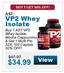 Buy 1 AST VP2 Whey Isolate, Mocha Cappuccino & get 1 Multi Pro 32X, 100 Caplets 50% OFF!