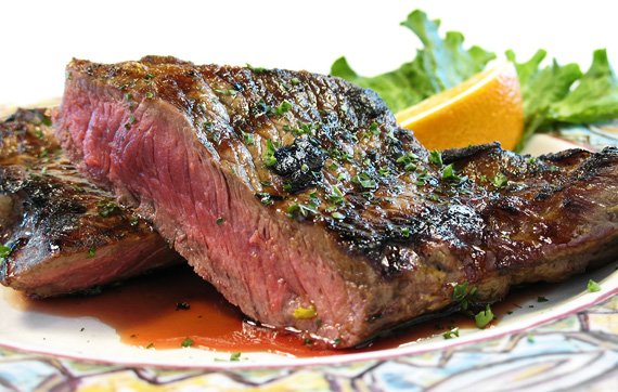 pics Grilled Flank Steaks with Herb Butter Recipe