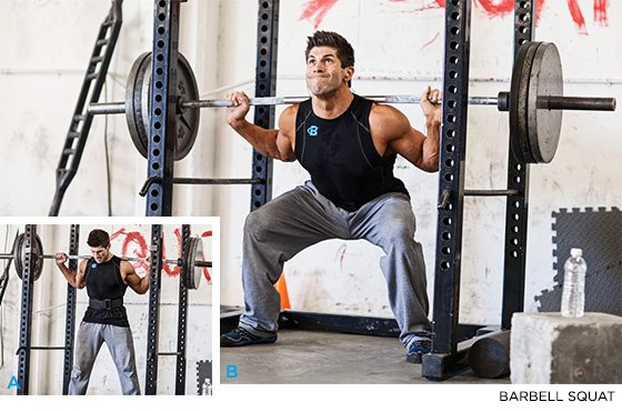 Superieur Cues: Grab The Barbell With A Grip Slightly Wider Than Shoulder Width, Step  Under The Bar, And Place It Across Your Upper Back Just Below The Top Of  Your ...