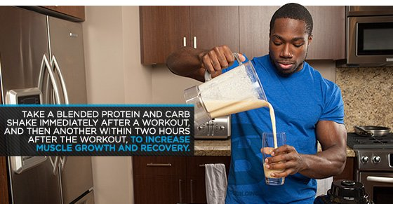 Take blended protein and car shake immediatley after a workout
