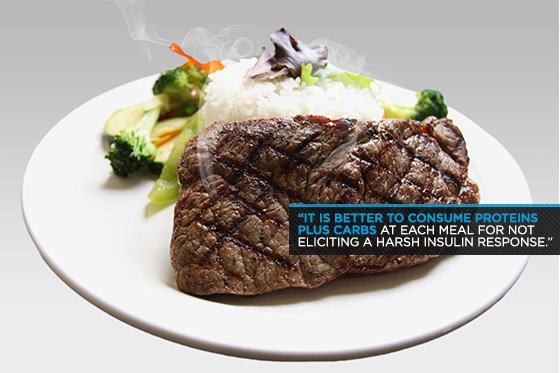 It is better to consume proteins play carbs at each meal for not eliciting a harsh insulin response.