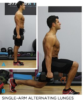 Exercise 3 Dumbbell Single Arm Alternating Lunges Progression How To Do It Hold A In Your Right Hand And Step Leg Back Lower