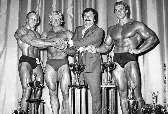 Mike Katz, Dave Draper, Joe Weider and Arnold Schwarzenegger
