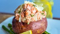 SALMON-STUFFED RED POTATO