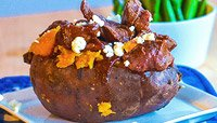 SPICY BARBECUE BISON STUFFED SWEET POTATO WITH GRILLED ASPARAGUS