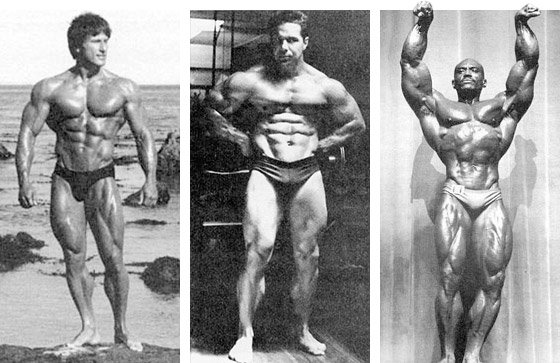THE GREAT FRANK ZANE, BILL PEARL, AND SERGIO OLIVA.