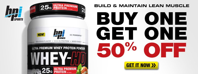 Buy 1 Get 1 50% Off BPI Whey-HD