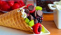 FRUIT AND YOGURT-STUFFED WAFFLE CONES