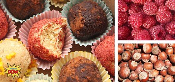 Raspberry coconut protein truffles