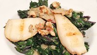 GRILLED KALE, PEAR, AND WALNUT SALAD